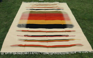 8x10 Multicolor Hand Woven Traditional Ikat Large Afghan Kilim Rug Carpet 8'x10'