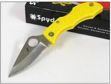 Couteau SPYDERCO LADYBUG 3 Yellow SALT Acier H-1 Plain Made In Japan SCLYLP3