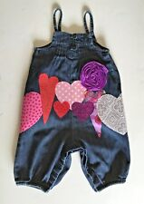 Baby Girl's Overalls, embellished ready-made, size 6/12 months, hearts & flower