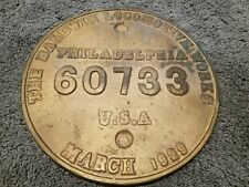 MARCH 1929 Builders Plate Baldwin Locomotive Works PHILADELPHIA 60733 RAILROAD
