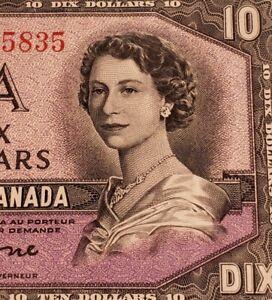 1954 Canada $10. DEVIL FACE Banknote.