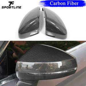 2PCS Carbon Mirror Cover Replacement With Lane Assistant Fit for Audi A3 8V S3
