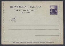 STORIA POSTALE REPUBBLICA 1947 Biglietto 4L NUOVO (INW)