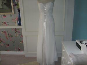 Destination Wedding dress in chiffon/satin. Art Deco style size 8 white