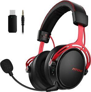 Mpow Air Gaming Headset Kabellos Kopfhörer 2,4GHz Wireless Laptop PS4 /ROT