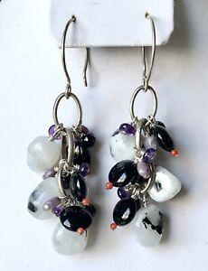 Vintage Sterling Silver Moonstone Onyx Amethyst Charoite Coral Cluster Earrings