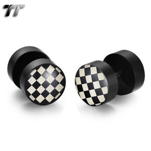 TT 8/10mm Epoxy UV Acrylic Chessboard Fake Ear Plug Earrings (BU08)2021 NEW