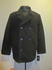 GUESS Double Breasted Peacoat Dark Grey Charcoal XL Wool Blend BRAND NEW