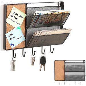 Letter Storage Rack Wall Mount Hanging Organizer Mail Sorter Cork Board Key Hook
