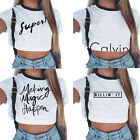 US Women's Casual Tank Top Blouse Ladies Slim Print Crop Top T-Shirt Sportwear