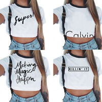 Fashion Women's Casual Tank Top Blouse Ladies Slim Print Crop Top T-Shirt Cami