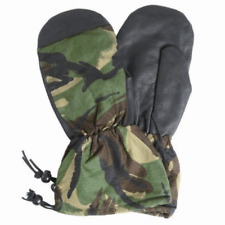 BRITISH army surplus camouflage inner winter mitts  leather palm