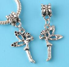 2pcs Tibetan silver angel Charm bead fit European Bracelet Pendant #F163