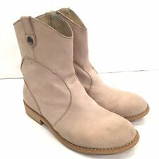 EMU Ladies Western Style Short Leather Boots Beige Size 8