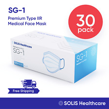 30 Pack - [Solis Sg-1] Medical Grade Face Mask Disposable Surgical Dental 3-Ply
