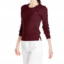 ff60e5e0b Lacoste Women s Long Sleeve Cotton Cable Knit Sweater 38 6 Bordeaux Red