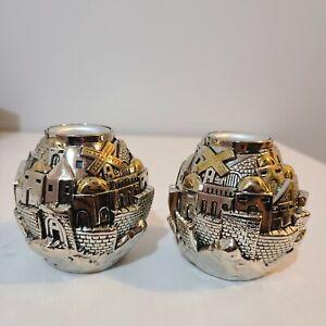 Karshi 925 Sterling Silver Shabbat Candle Holders Jerusalem Holy Land set of 2