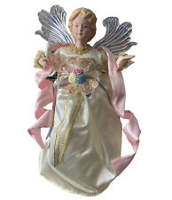 Electric Gold Pink Porcelain Angel Lights Moving Hands Wings Tree Topper 11�