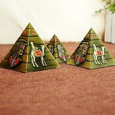 3 Sizes/Set Red Stone Egyptian Pyramid Metal Statue Decoration Desk Car Ornament