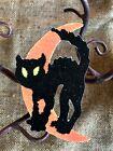 "Vintage Repro Black Cat on Half Moon Halloween Cardstock Decoration,4"", 5"" OR 6"""