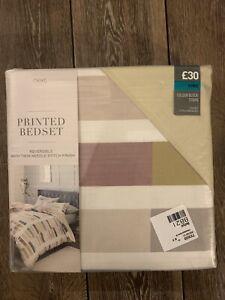 Next Colour Block Stripe King Printed Bedset