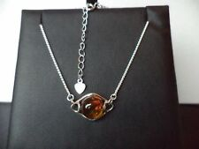 Cognac Baltic Amber 925 Sterling Silver SPIGA chain BRACELET Mother's Day GIFT