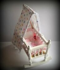 DOLLS NURSERY:  MINIATURE CANOPIED ROCKING BABY CRADLE WITH QUILT & RATTLE SET