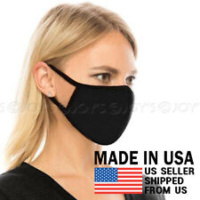 Black Face Mask - Unisex Adult Washable Cotton Breathable Reusable Fabric Mask