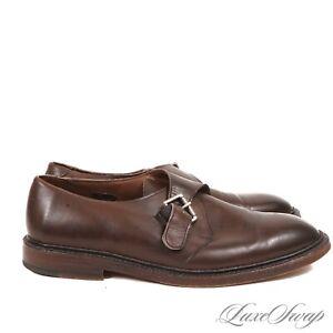 #1 MENSWEAR Allen Edmonds USA Norwich Oak Brown Burnished Single Monk Shoes 11