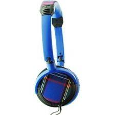 Urbanz Tartan DJ Fashion Full Over Ear Band Foldable Headphones 3.5mm - Blue