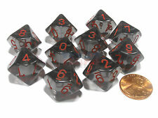 Set of 10 Chessex D10 Dice - Translucent Smoke with Red Numbers