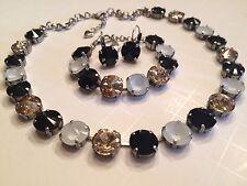 Swarovski Crystal Element Necklace Bracelet Earrings Black Silk Pastel Grey 12mm
