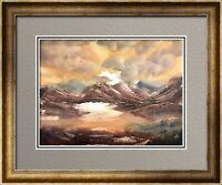 Tangerine Skies 10x14 Watercolor Landscape Art Painting By Joe Menza