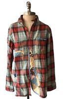 POLO RALPH LAUREN Authentic Patchwork Flannel Shirt 100% Cotton Size M $298