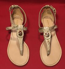 Coach Ingrid Nat Print Snake T- Strap Thong Leather Sandals Q7144 Size 7 M
