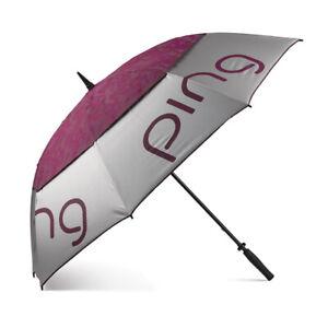 "New Ping Golf Ladies Double Canopy 62"" Umbrella Silver/Garnet"