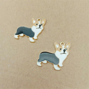 1~10PCS Cute Enamel Pembroke Welsh Corgi Dog Charm Pendant DIY Bracelet/Necklace