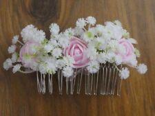 Wedding Bridal pink Rose & White gypsophila Bridal Flower Hair Comb Handmade