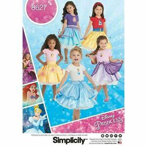 Simplicity Princess Sewing Pattern 8627 (3-8) Kids Girls Disney Skirt