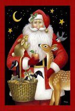 Christmas Santa's Friends Furry Critters Santa Claus Toland Sm Garden Flag