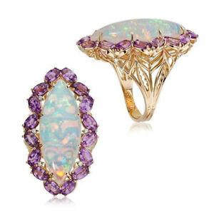 Fashion Women 18K Gold White Fire Opal Rings Wedding Proposal Jewelry Size 8