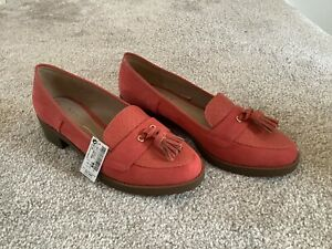 Next shoes size 6.5 / Eu 40 Coral orange slip on tassel shoes - New with tags
