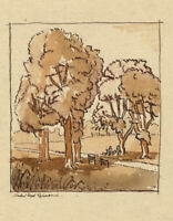 Patrick A. Faulkner, Figures, Richmond Park – Mid-20th-century watercolour