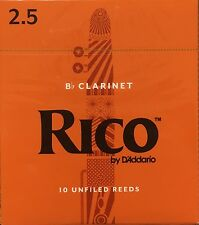 Rico Bb Clarinet Reeds #2.5 (10-Pack) NEW rca1025; Ten Reeds included