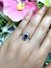 14 WHITE GOLD FN OVAL CUT DIAMOND WEDDING ENGAGAMENT TANZANITE HALO RING