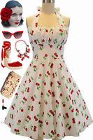 50s Inspired White CHERRY BOMB Cherries Print Pinup Betty HALTER TOP Sun Dress
