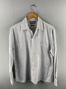 Fletcher Jones Mens White Black Striped Long Sleeve Button Up Shirt Size Medium