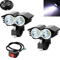 2PCS 20W Motorcycle T6 LED Headlight Driving Fog Spot Lights Universal w/ Switch