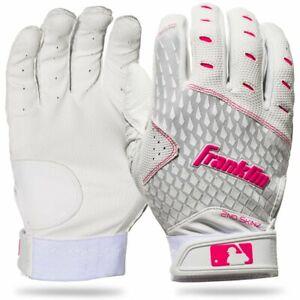 Franklin Sports 2nd-Skinz Fastpitch Softball Batting Gloves, WHT/PNK (21171F4)