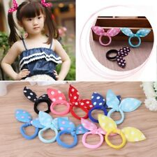 10Pcs Kids Girl Rabbit Ears Polka Dot Hair Tie Ponytail Holder Bow Elastic Bands